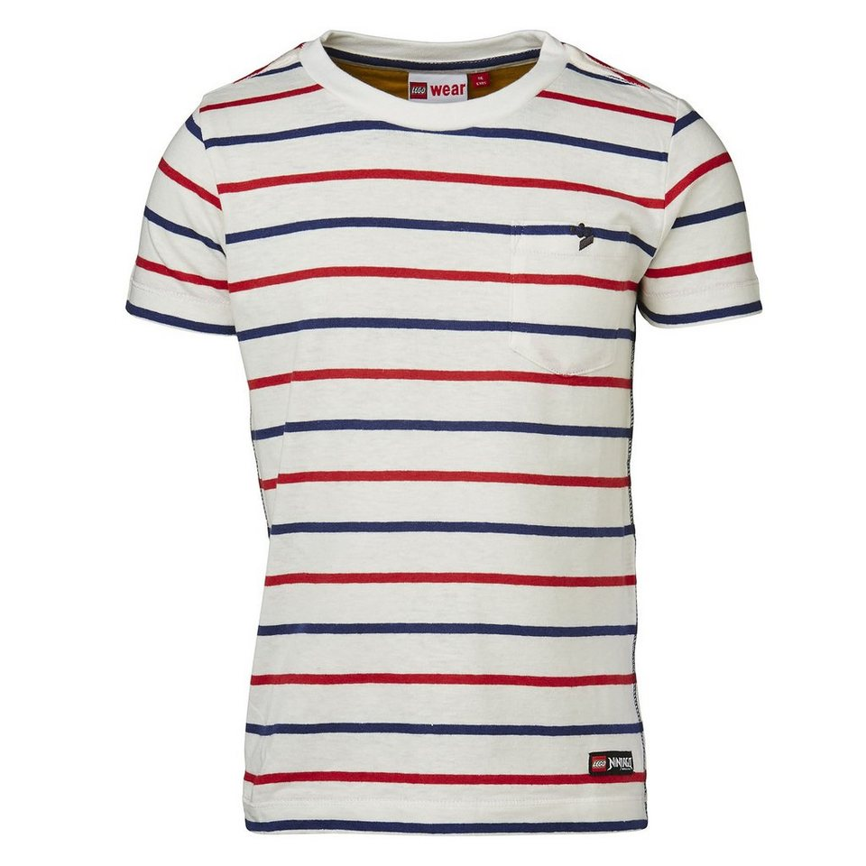 "LEGO Wear Ninjago T-Shirt Tony ""Stripes"" All Over kurzarm Shirt gestreift in rot"