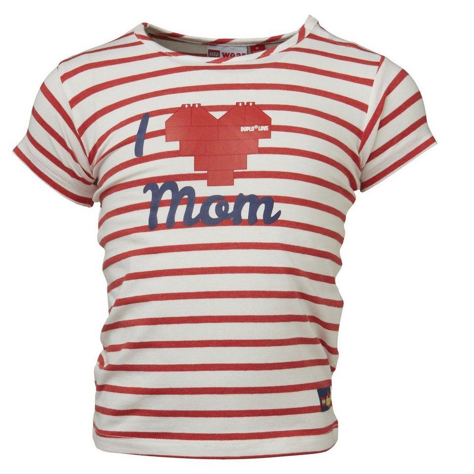 "LEGO Wear Duplo T-Shirt ""I Love Mum & Dad"" kurzarm Shirt Tiff gestreift in rot"