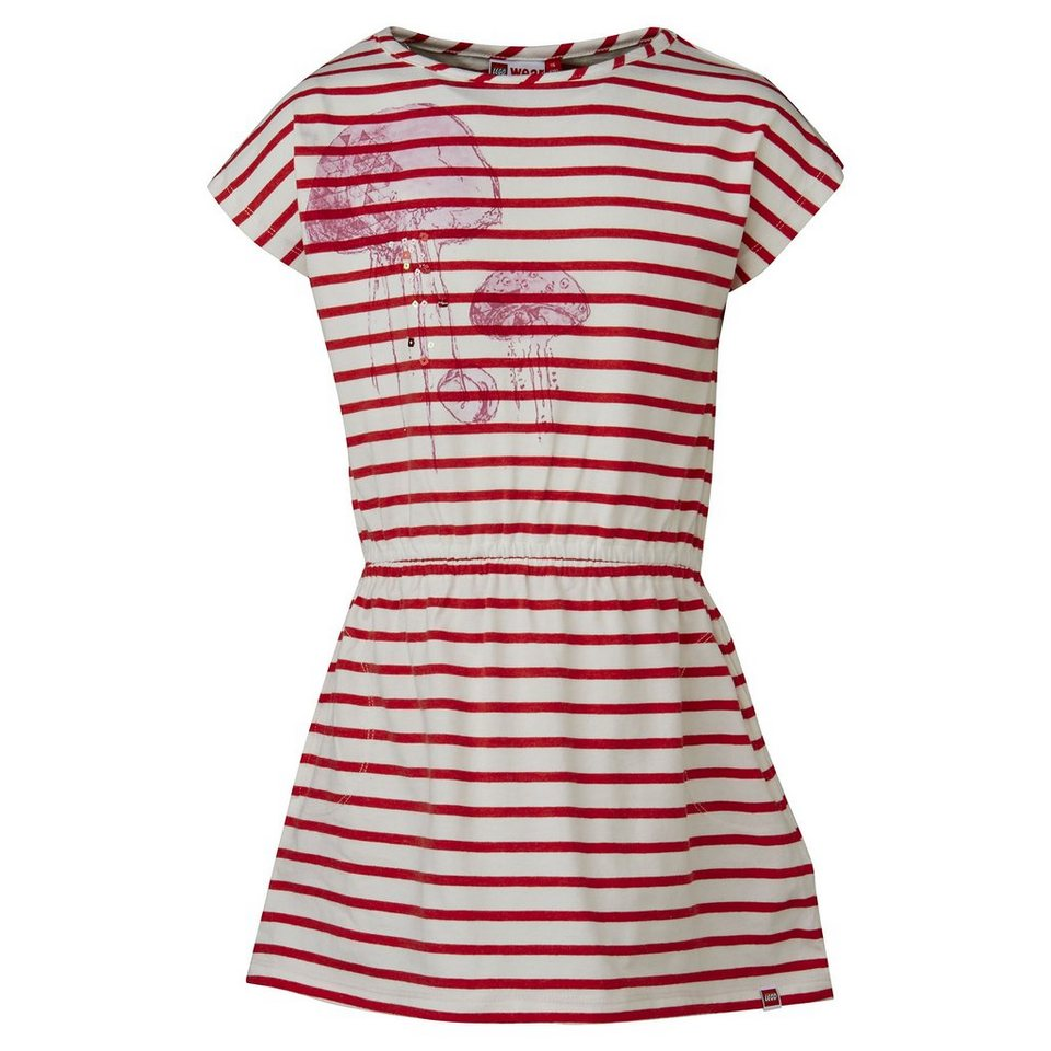 "LEGO Wear Brick N Bricks Jersey Kleid Dawn ""Stripes"" Dress in rot"