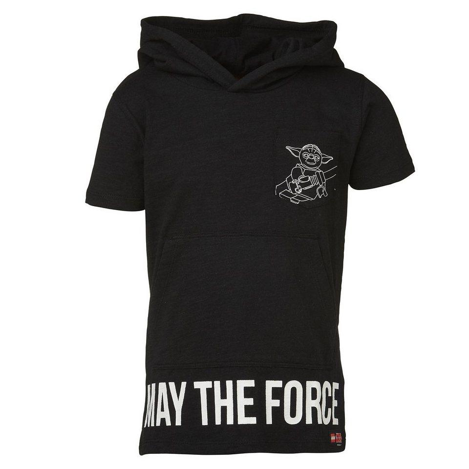 """LEGO Wear STAR WARS(TM) T-Shirt mit Kapuze Tony """"Yoda"""" kurzarm Kängurutasc in schwarz"""