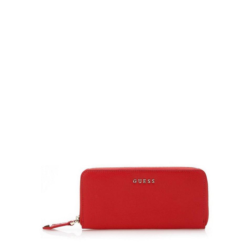 Guess Oversize-Portemonnaie Alessandra aus Leder in Rot