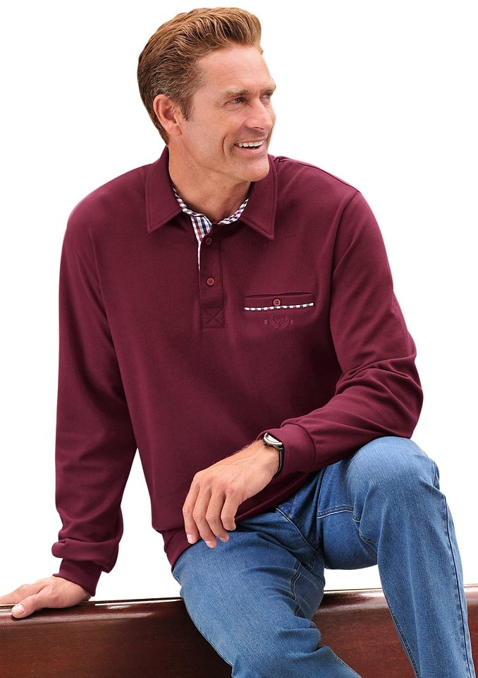 J.Witt Collection Shirt mit Polokragen in bordeaux