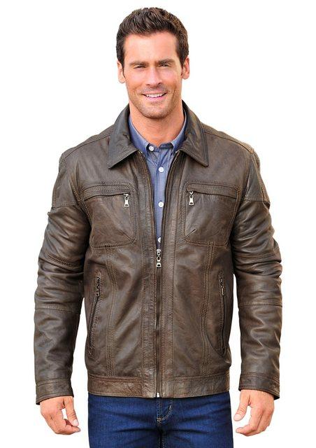 marco donati -  Leder-Jacke mit gestreiftem Innenfutter