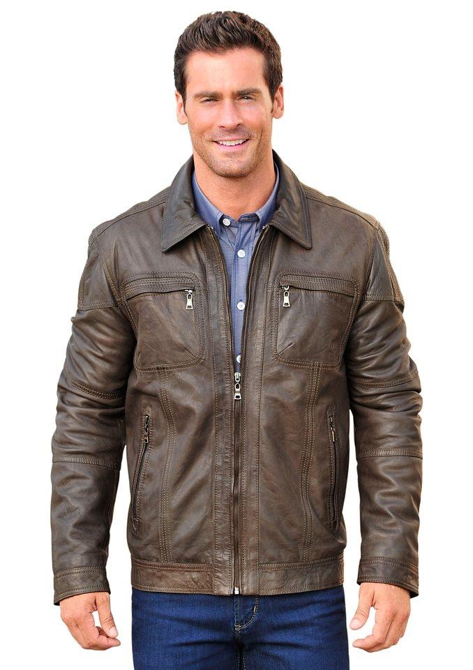 Mainpol Leder-Jacke mit gestreiftem Innenfutter in taupe