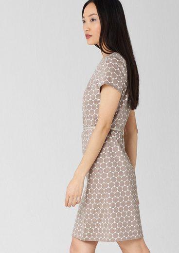 S.oliver Black Label Dress With Belt In Cotton Satin