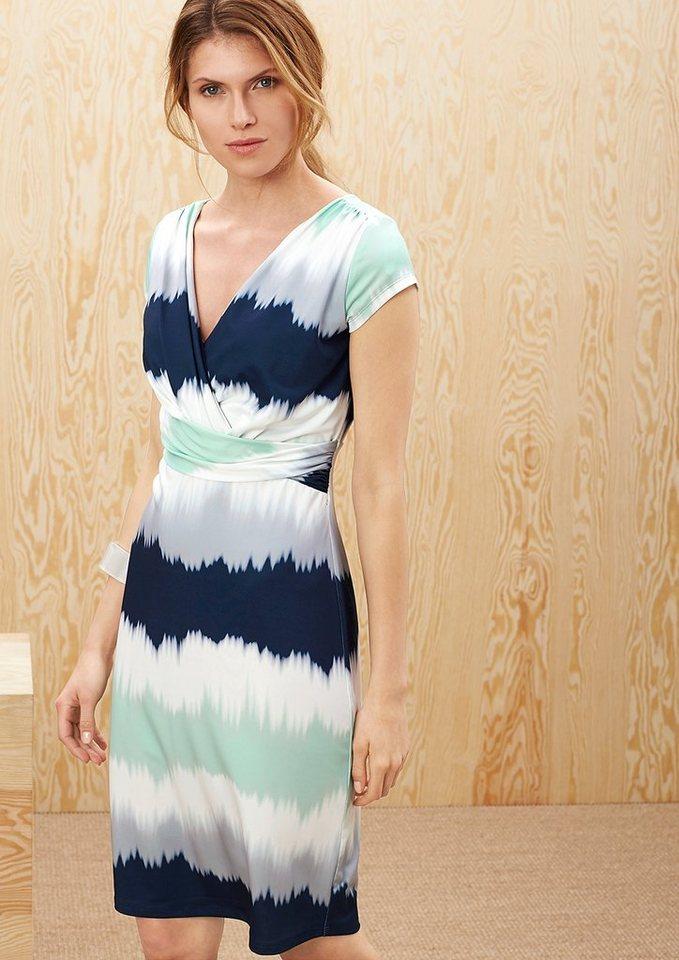 s.Oliver PREMIUM Gemustertes Drapé-Kleid in deep blue