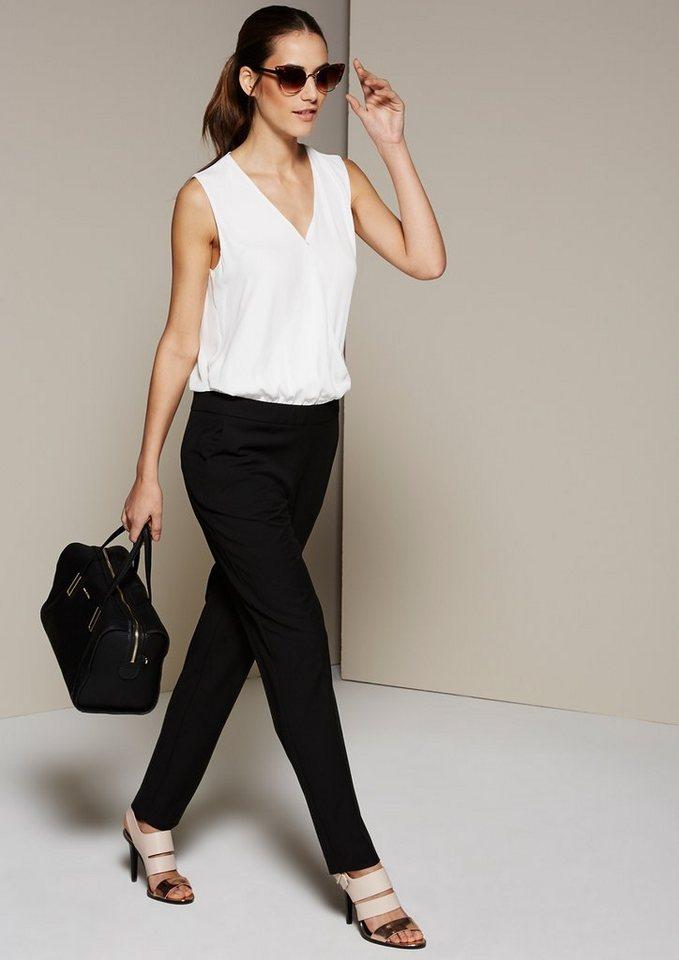 COMMA Femininer Jumpsuit im Two-Tone Look in black