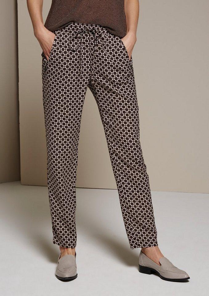 COMMA Lässige Loungepants mit liebevoll gestaltetem Alloverprint in taupe AOP