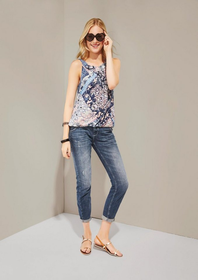 COMMA Sommerliches Top mit charmantem Muster in blue AOP