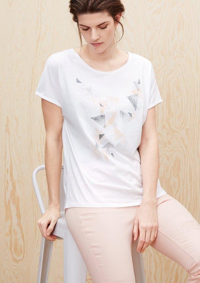TRIANGLE Printed T-Shirt mit Dreiecken in light cream placed p