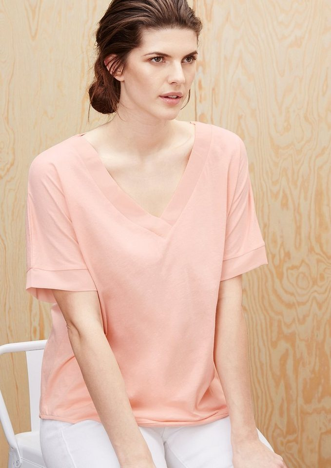 TRIANGLE Fledermausshirt mit Chiffon-Details  in powder peach