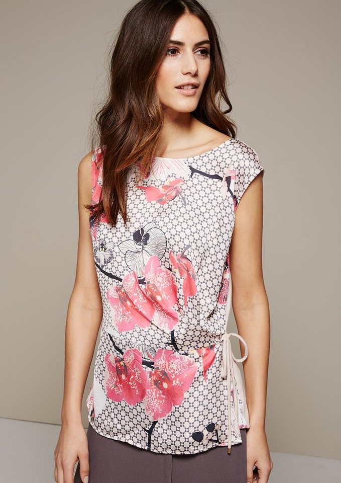 COMMA Leichtes Top mit farbenfrohem Musterprint in chili floral print