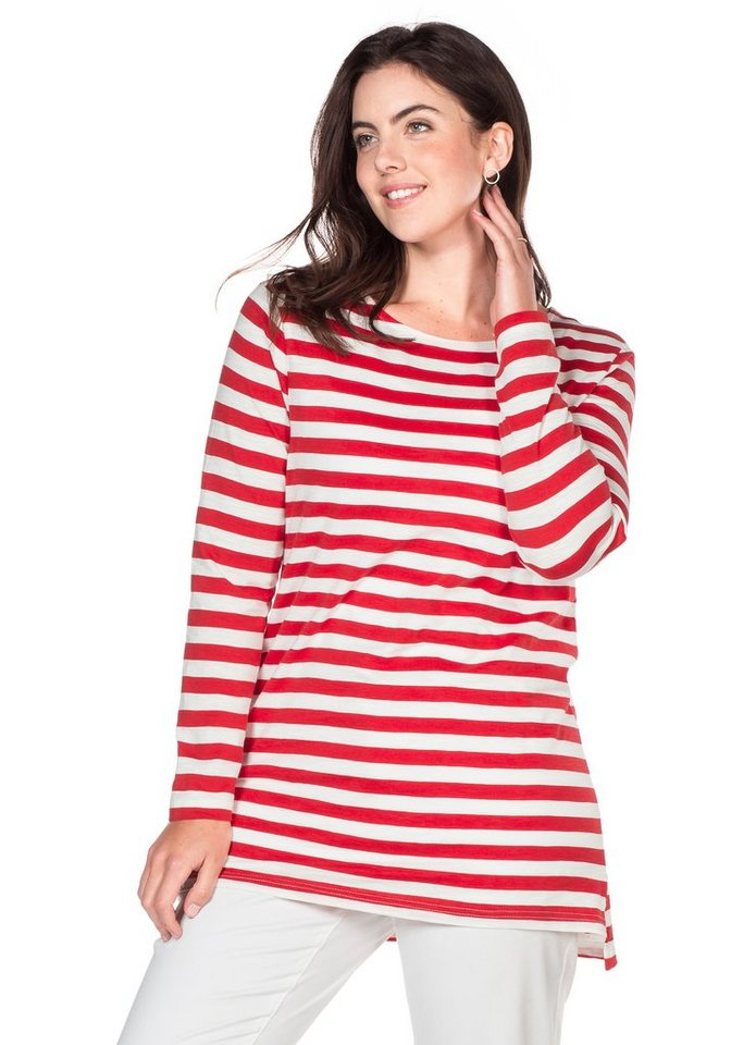 sheego Casual Langarmshirt mit Streifen in tomatenrot-weiß