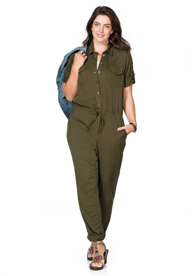 sheego Casual Jumpsuit in dunkeloliv