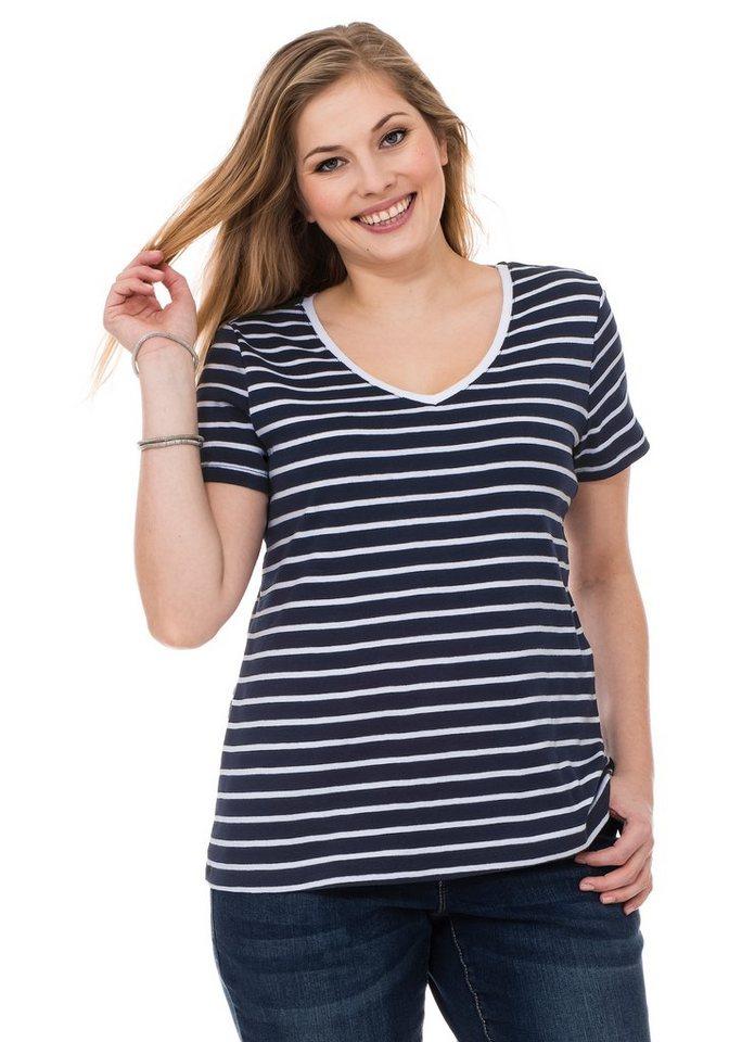 sheego Casual BASIC T-Shirt mit V-Ausschnitt in marine-weiß