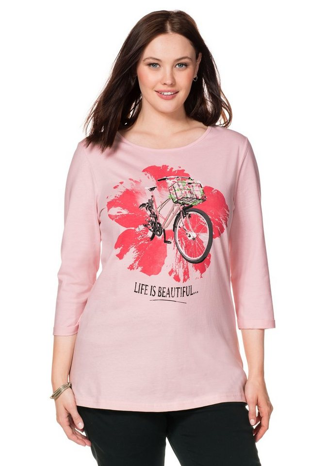 sheego Casual 3/4-Arm-Shirt in cremerosé