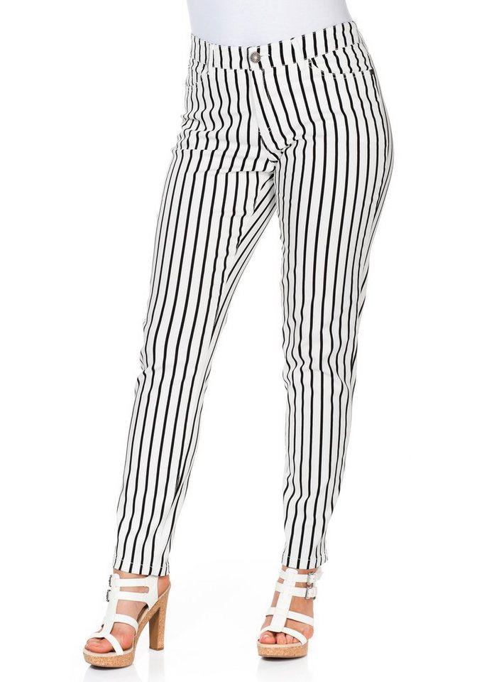 sheego Casual Schmale Stretch-Hose in weiß-schwarz