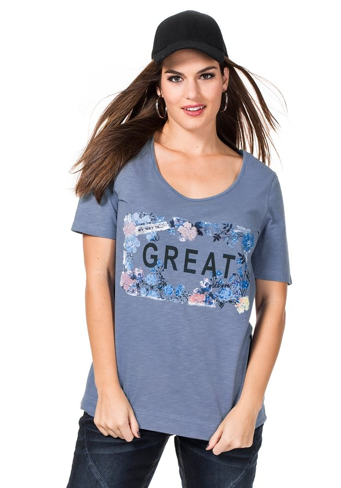 sheego Trend Shirt mit Blumendruck in eisblau