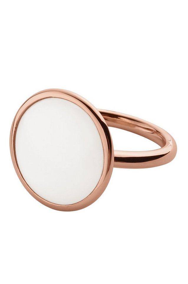Skagen Ring mit Glasstein, »Sea glass, SKJ0823791« in roségoldfarben-weiß