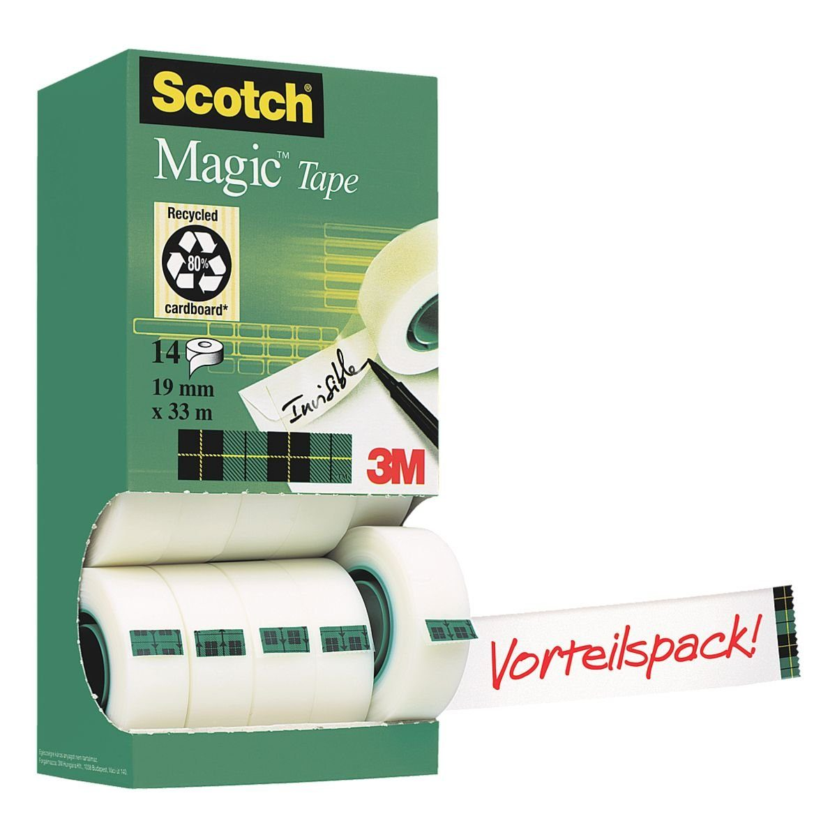 Scotch Klebeband transparent, 19 mm/33 m (B/L), 14 Stück »Magic Tape 810«