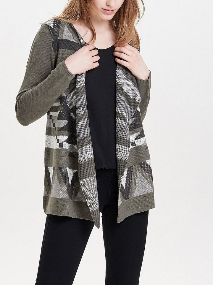 Only Langer Strick-Cardigan in Gunmetal