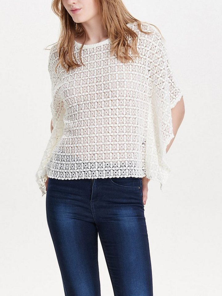 Only Gestrickter Poncho in Cloud Dancer