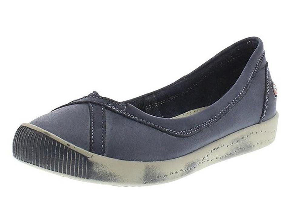 softinos Ballerina »Ilma washed leather« in dunkelblau