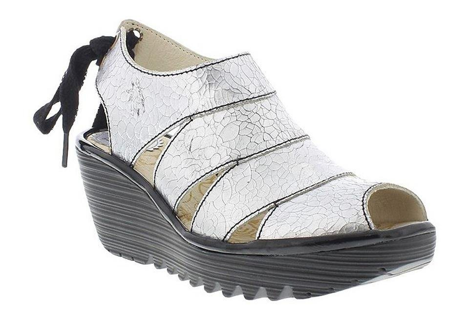 FLY LONDON Keilsandalette »Yown quarteira« in silber