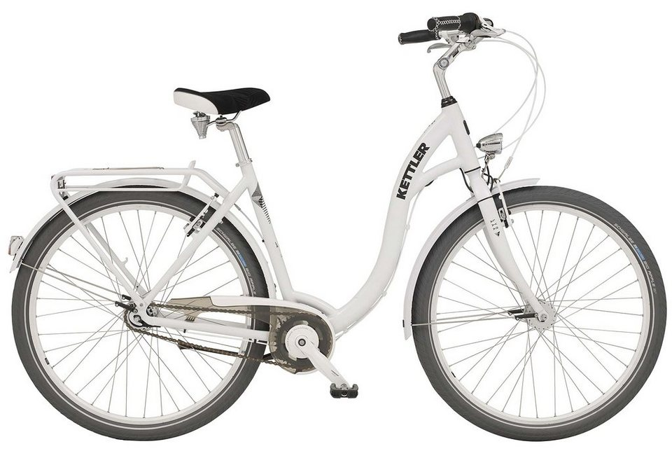 Kettler Citybike Damen, 28 Zoll, 7 Gang Shimano, XXL V-Brake, Rücktritt, inkl. Tasche, »Layana« in white glossy
