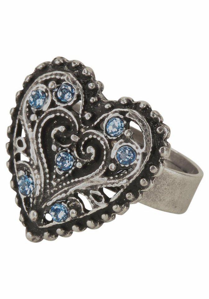J. Jayz Fingerring mit Herz in silberfarben-hellblau