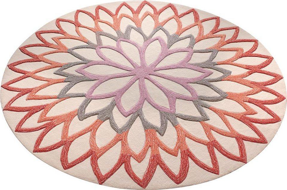 Teppich, rund, ESPRIT, »Lotus Flower«, handgetuftet in orange