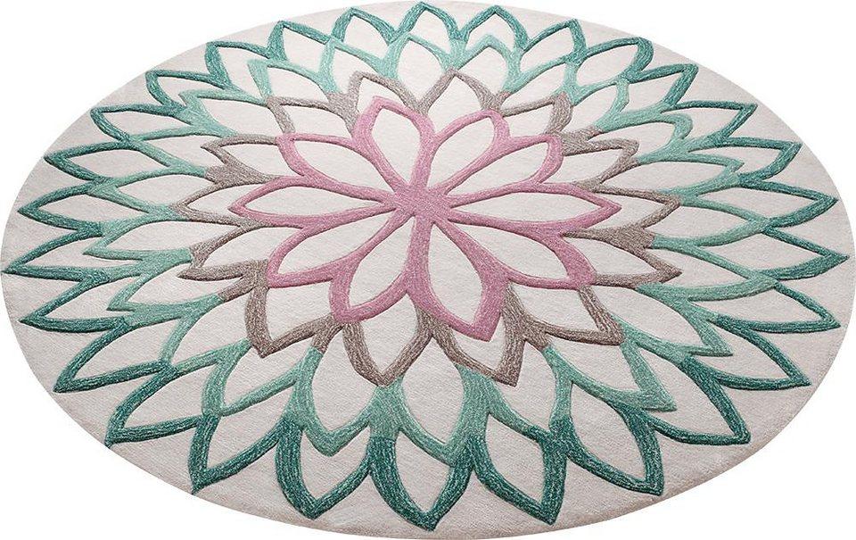 Teppich, rund, ESPRIT, »Lotus Flower«, handgetuftet in türkis