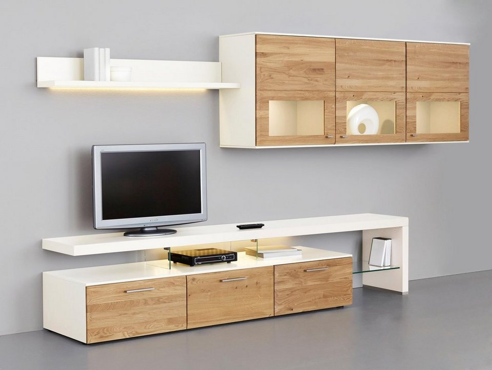 netfurn by gwinner wohnwand solano lack wei 3 tlg online kaufen otto. Black Bedroom Furniture Sets. Home Design Ideas