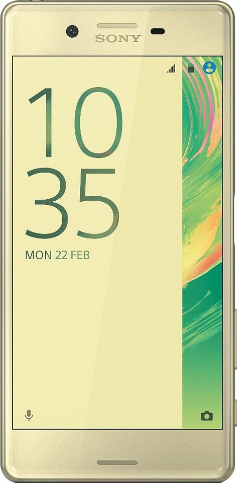 Sony Xperia X Smartphone, 12,7 cm (5 Zoll) Display, LTE (4G), Android 6.0 (Marshmallow) in Limette/goldfarben