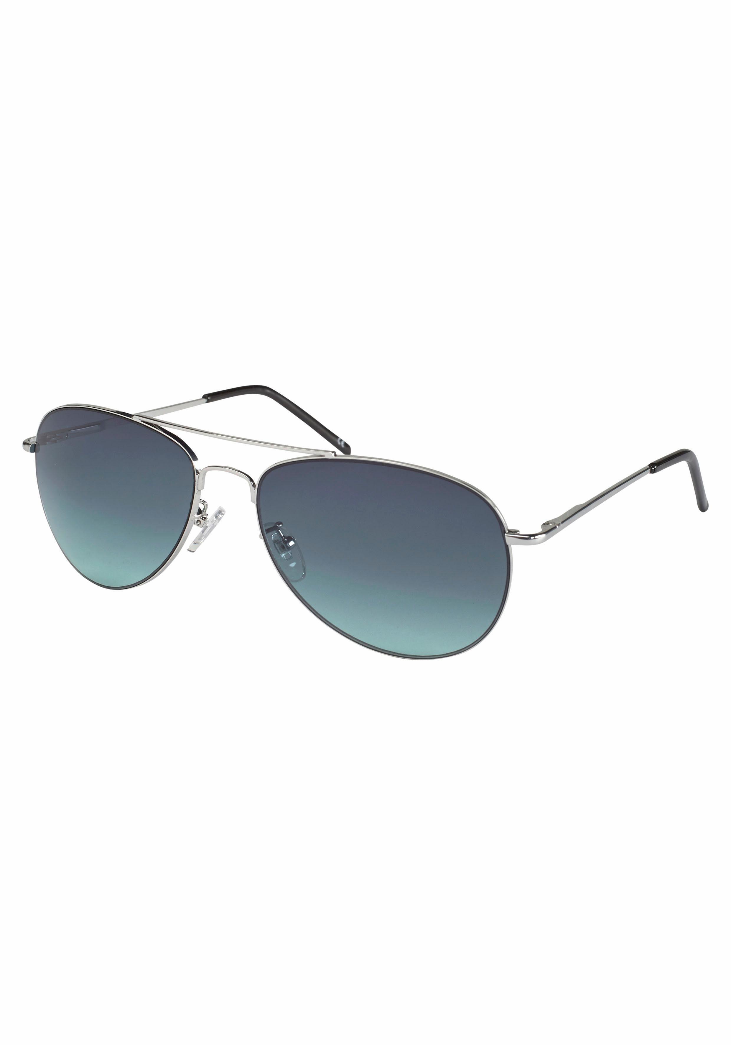 Sonnenbrille, im Piloten-Stil, Aviator Look, Metallgestell, weiß, weiß