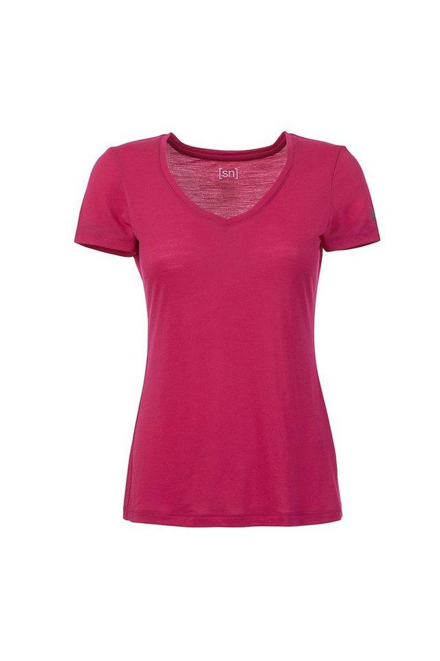 Super.Natural Merino-Shirt »W V NECK TEE 140« in BRIGHT ROSE