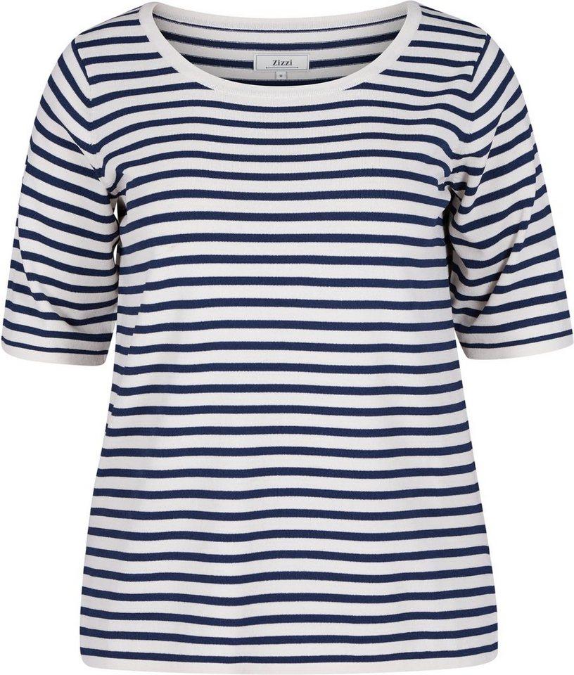 Zizzi Bluse in Dress Blues Stripe