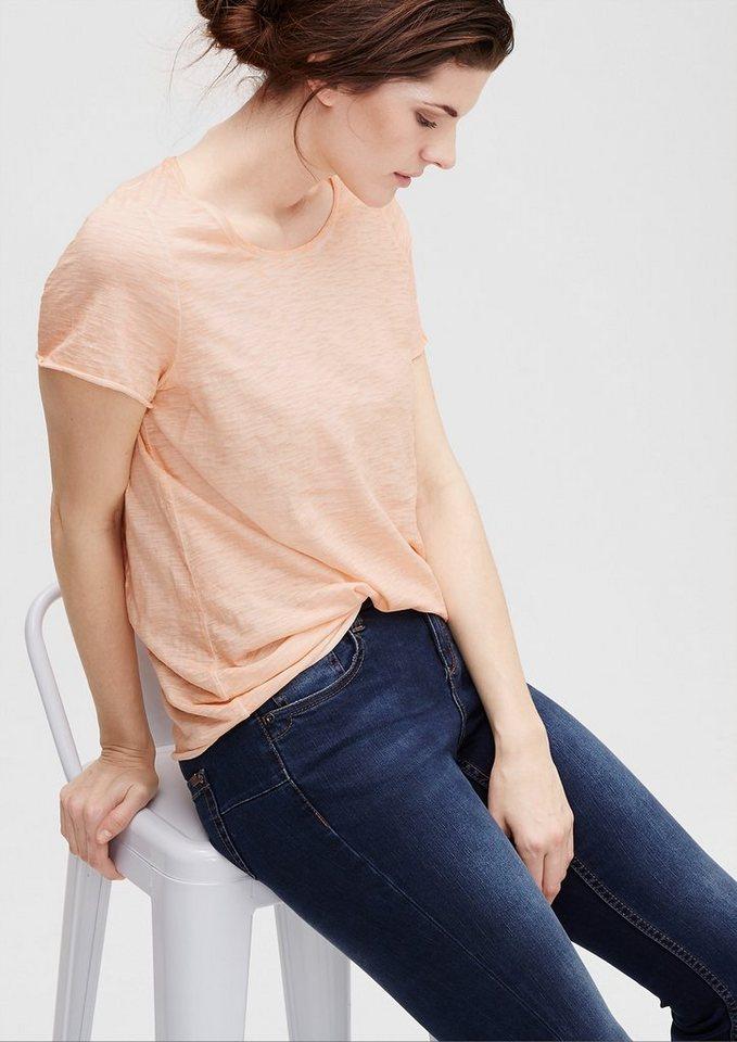 TRIANGLE Flammgarn-Shirt mit Wascheffekt in powder peach