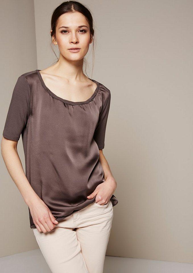 COMMA Schlichtes Kurzarmshirt mit raffiniert gestalteten Details in taupe