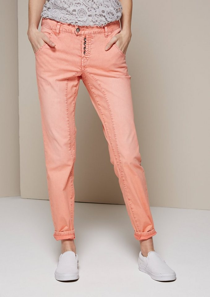 COMMA Lässige Twillpants im Used-Look in coral