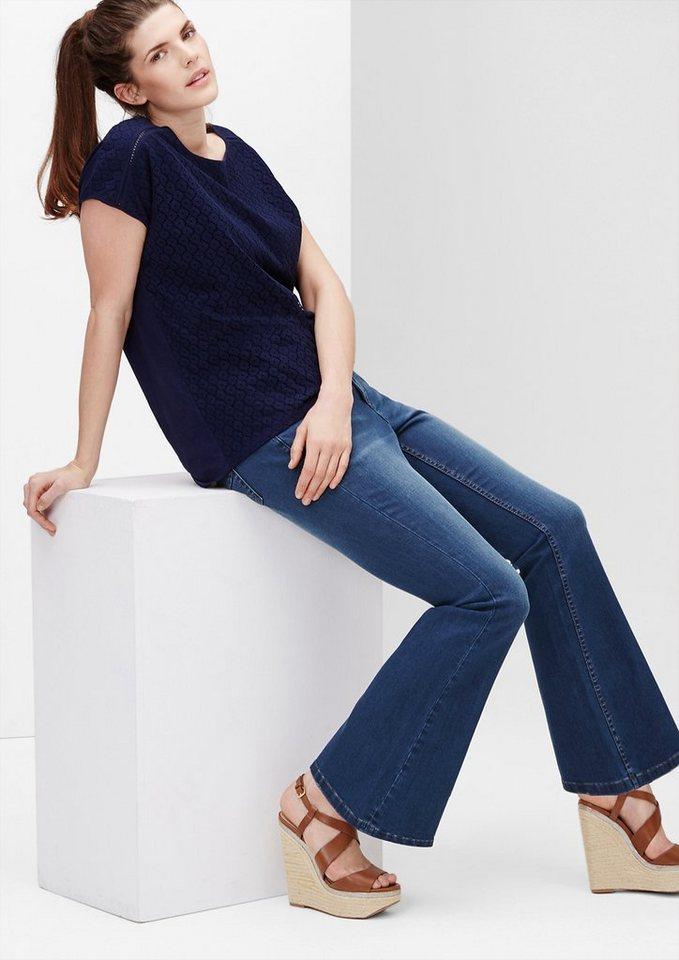 TRIANGLE Regular: Highwaist Flared Jeans in ocean blue