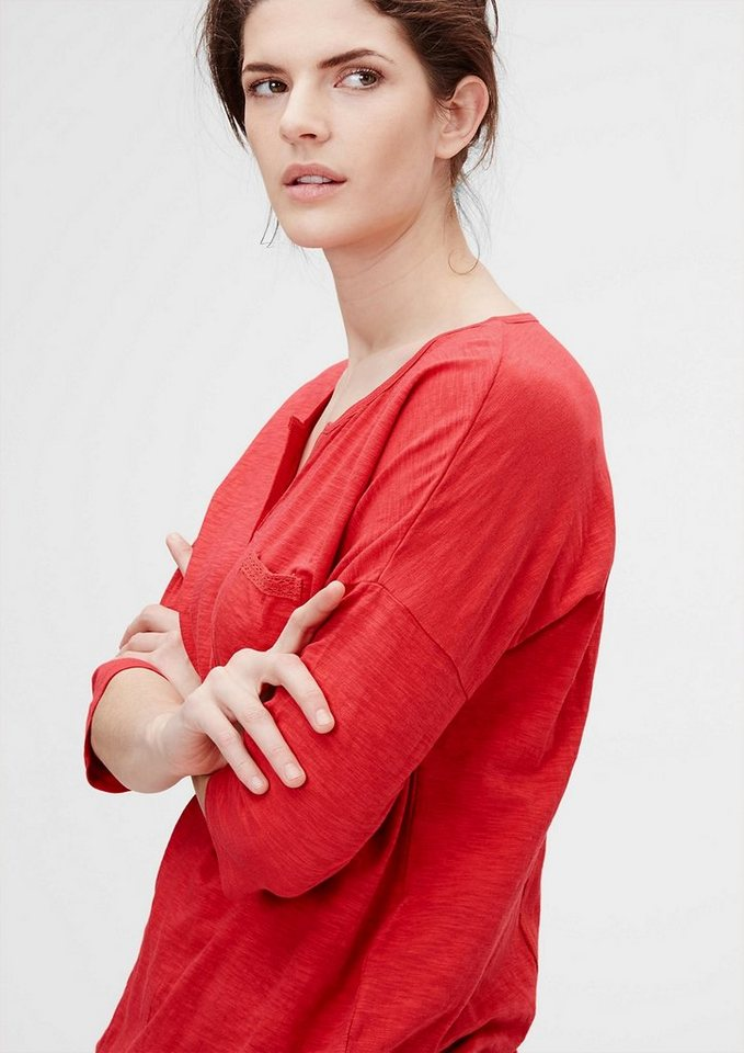 TRIANGLE Flammgarn-Shirt mit Knöpfen in red