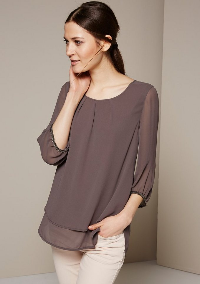 COMMA BLUSE 3/4 ARM in taupe
