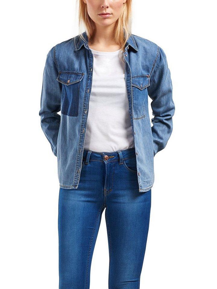 Only Langärmeliges Jeanshemd in Medium Blue Denim
