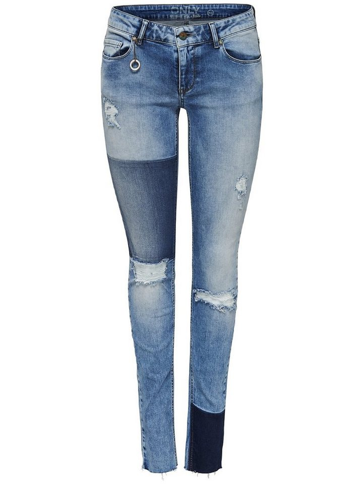 Only Ultimate reg patch Skinny Fit Jeans in Light Blue Denim