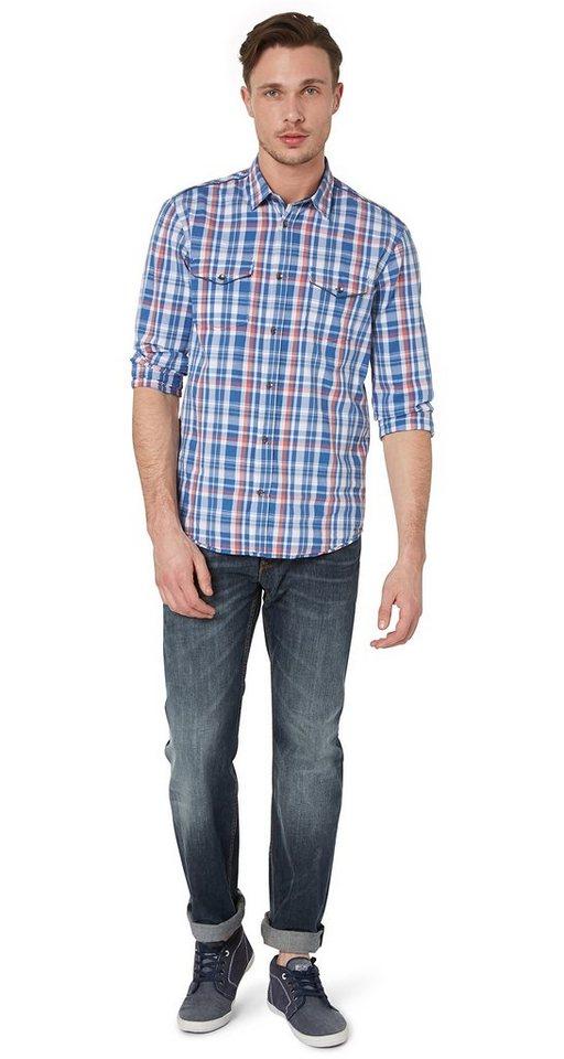 TOM TAILOR Jeans »Jeans im Used-Look mit Gürtel« in dark indigo with tin