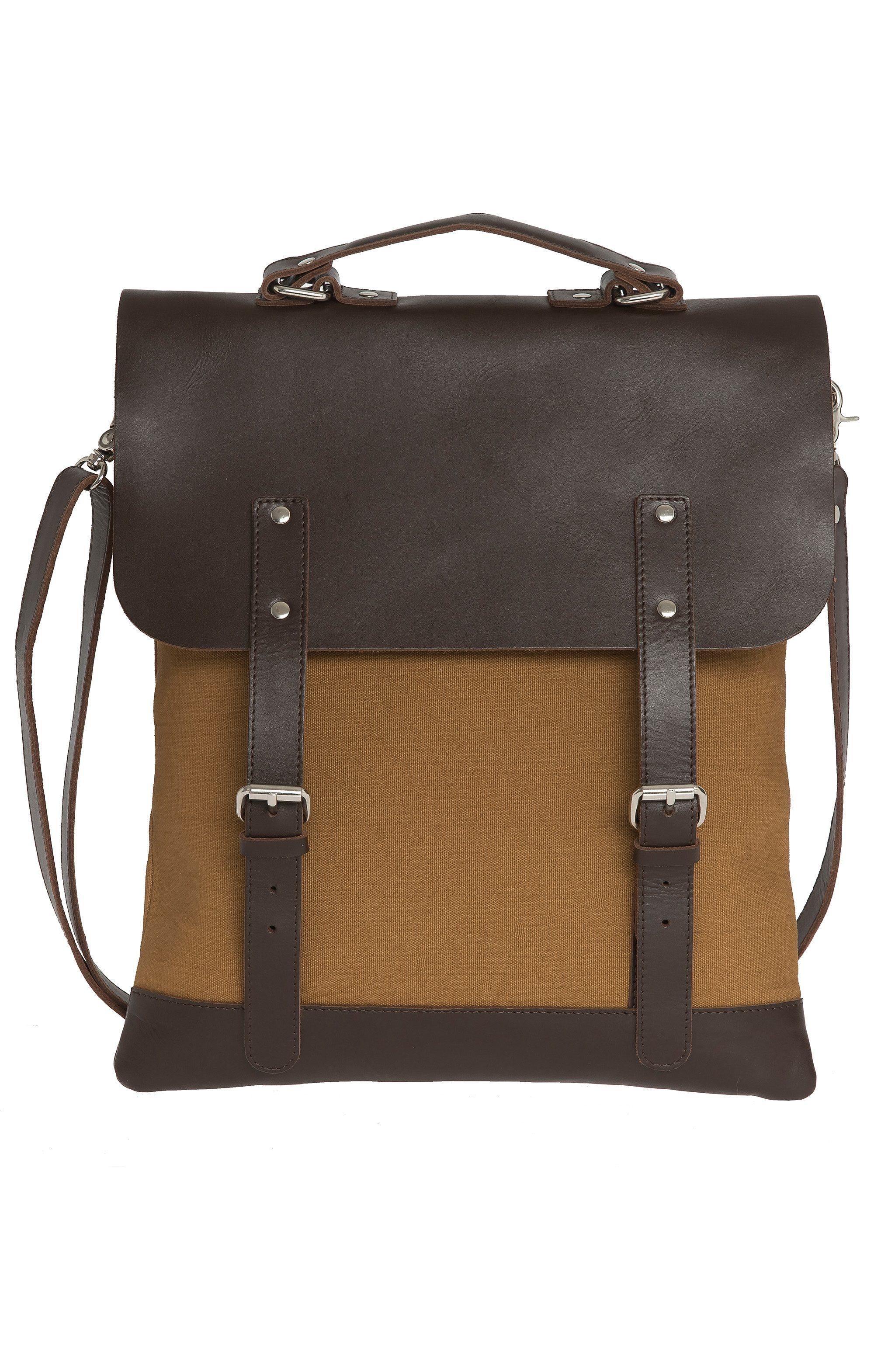 Enter Rucksack, »Messenger Tote Leather Top, Khaki/Dark Brown«