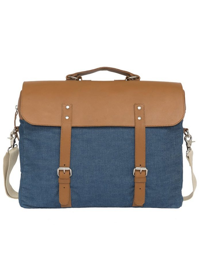 Enter Aktentasche, »Brief Big John Made in Japan, Denim/Tan Leather« in blau-braun