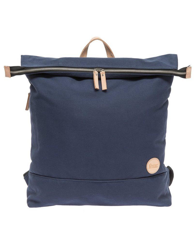 Enter Rucksack mit Laptop-Trennwand, »Top Zip Backpack, Navy/Natural« in navy