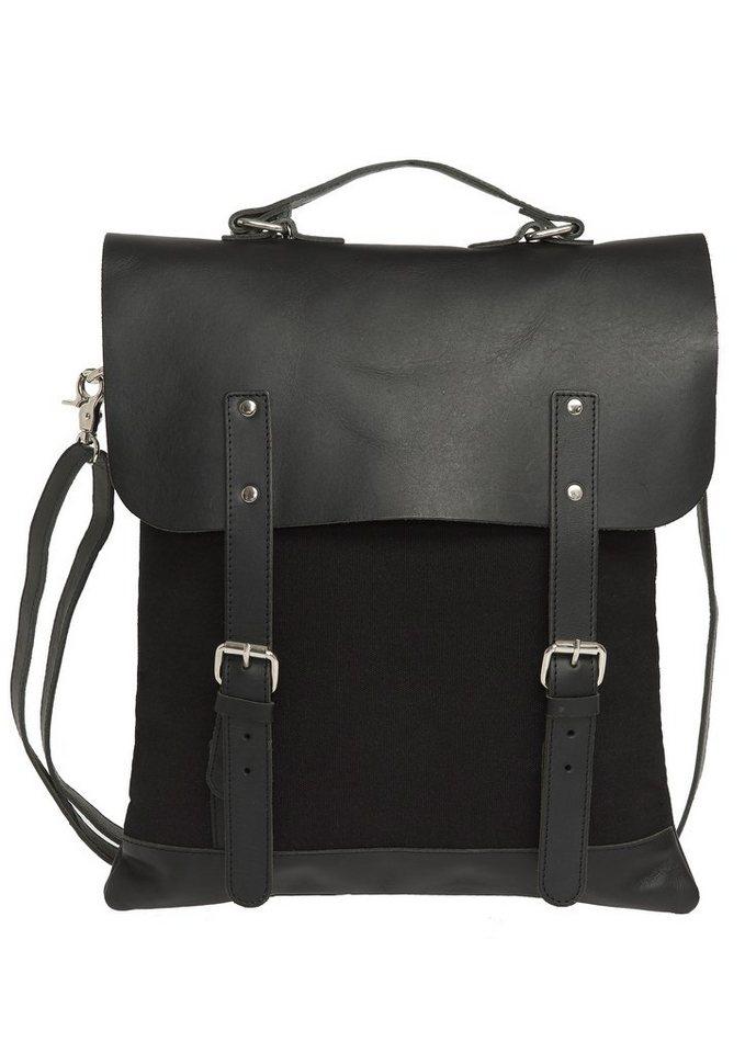 Enter Rucksack, »Messenger Tote Leather Top, Black« in schwarz